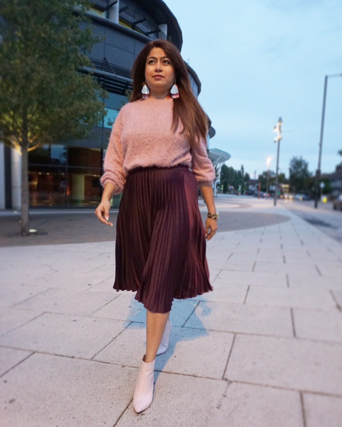 pleated skirt ,jumper and ankle length boots - autumn style