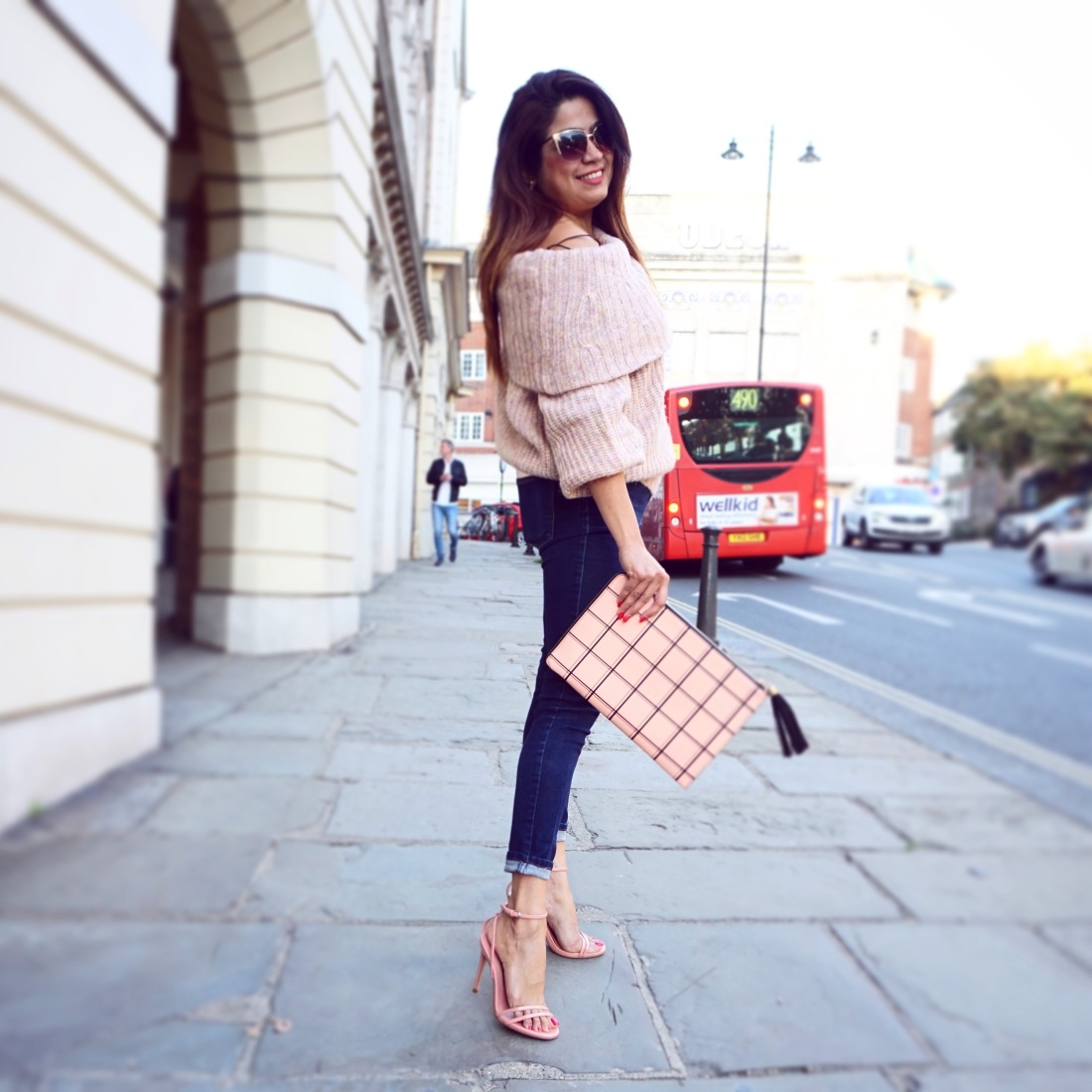 Autumn Wear - jumper , jeans & clutch
