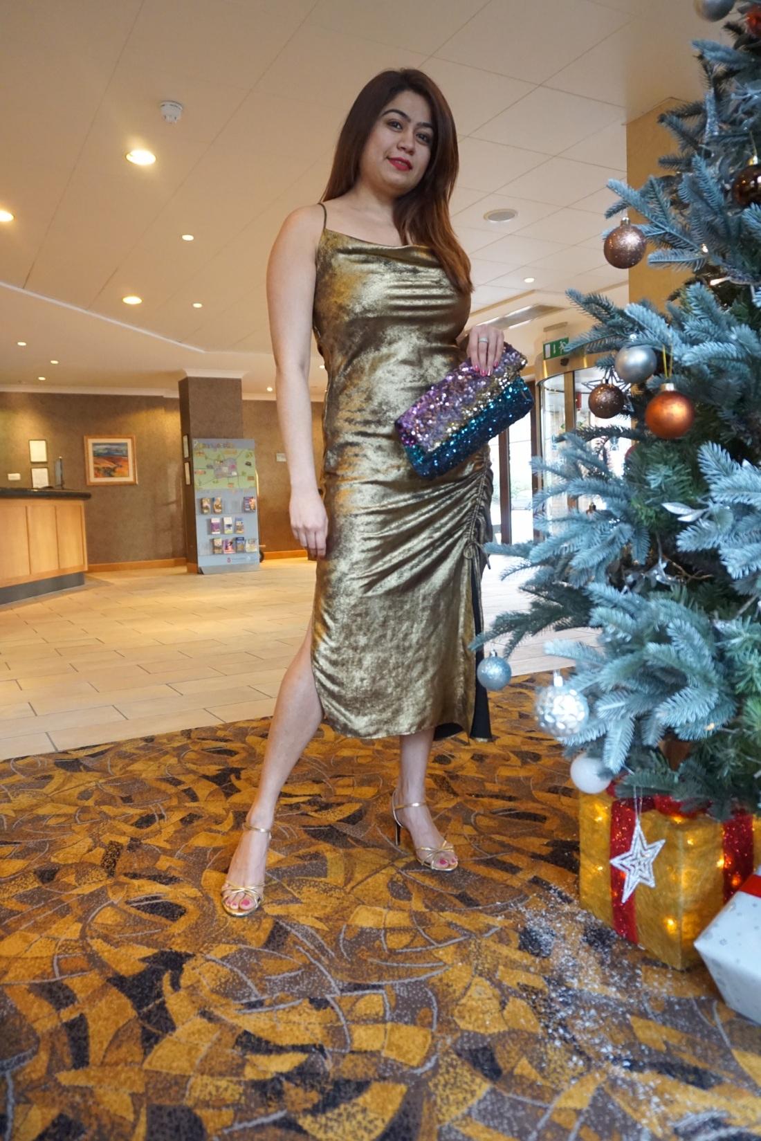 gold party wear dress