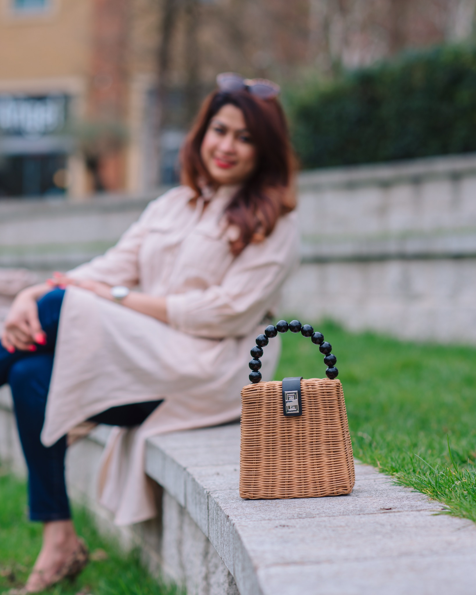 Shirt dress & cane bag